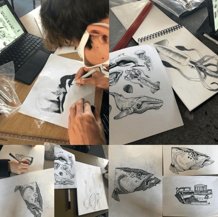 Art scholars work